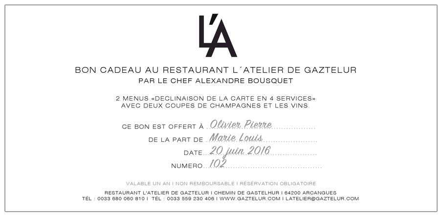 Assez Gaztelur | Bons Cadeaux Restaurant L'Atelier de Gaztelur WU57